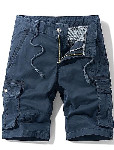 Homme Decontracte / Sport Shorts Cargo Chino Pantalon cargo Mince Pantalon Mosaique Couleur Pleine Armee verte Bleu Kaki Noir