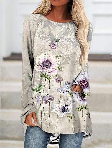 Dámské Úpletové šaty Krátké mini šaty Trávová zelená Béžová Dlouhý rukáv Květinový Tisk Podzim Léto Kulatý Na běžné nošení Dovolená 2021 S M L XL XXL 3XL