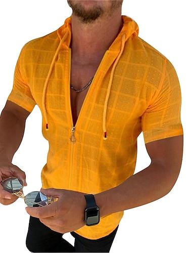 Homens Camisa Social Outras estampas Cor Solida Com Cordao Manga Curta Rua Blusas Moda Moda de Rua Legal Estilo Praia Verde Laranja Branco