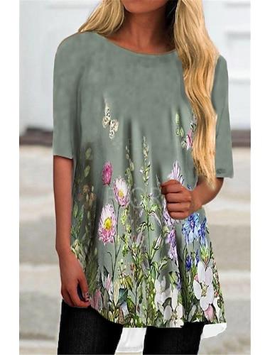 Γυναικεία Κοντομάνικο φόρεμα Μίνι φόρεμα Γκρίζο Μισό μανίκι Φλοράλ Στάμπα Φθινόπωρο Καλοκαίρι Στρογγυλή Λαιμόκοψη Καθημερινό 2021 Τ M L XL XXL 3XL