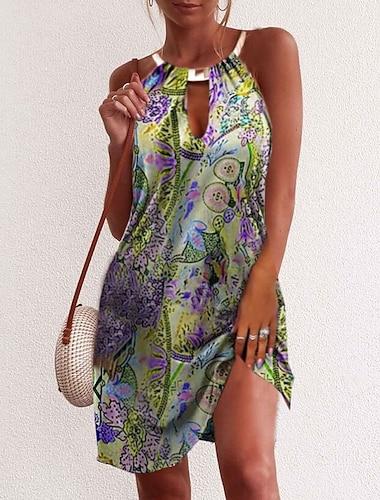 Γυναικεία Φόρεμα σε ευθεία γραμμή Φόρεμα μέχρι το γόνατο Βυσσινί Κίτρινο Πράσινο του τριφυλλιού Ρουμπίνι Αμάνικο Στάμπα Καλοκαίρι Στρογγυλή Λαιμόκοψη Καθημερινό 2021 Τ M L XL XXL 3XL