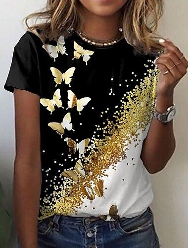 Női Pillangó Festmény Póló Pillangó Színes Állat Nyomtatott Kerek Alap Felsők Bíbor Sárga Fekete