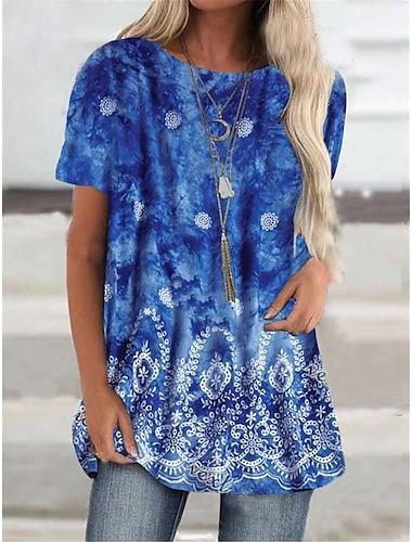 Γυναικεία Κοντομάνικο φόρεμα Μίνι φόρεμα Θαλασσί Μισό μανίκι Φλοράλ Στάμπα Φθινόπωρο Καλοκαίρι Στρογγυλή Λαιμόκοψη Καθημερινό 2021 Τ M L XL XXL 3XL