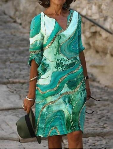 Γυναικεία Φόρεμα σε γραμμή Α Φόρεμα μέχρι το γόνατο Θαλασσί Πράσινο του τριφυλλιού Καφέ 3/4 Μήκος Μανικιού Διαβάθμιση χρώματος Στάμπα Καλοκαίρι Λαιμόκοψη V Καθημερινό 2021 Τ M L XL XXL 3XL 4XL 5XL