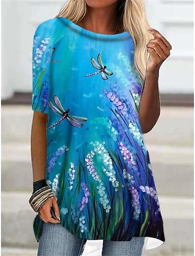 Dámské Tričkové šaty Krátké mini šaty Vodní modrá Fialová Poloviční rukáv Květinový Zvíře Tisk Podzim Léto Kulatý Na běžné nošení Dovolená 2021 S M L XL XXL 3XL