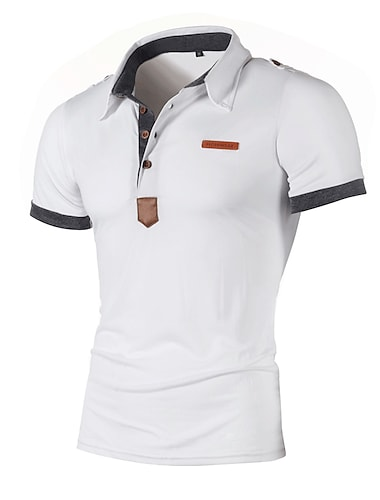 Ανδρικά Πουκάμισο γκολφ χωρίς εκτύπωση Συνδυασμός Χρωμάτων Κοντομάνικο Causal Άριστος Βαμβάκι Καθημερινό Μαλακή Αναπνέει Κρασί Λευκό Μαύρο