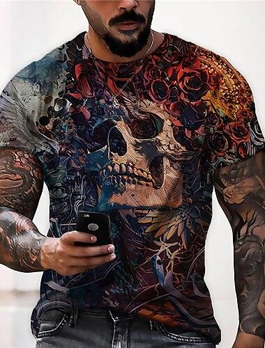 Pánské Unisex Trička Tričko Košile 3D tisk Grafické tisky Lebky Tisk Krátký rukáv Denní Topy Na běžné nošení Designové Velký a vysoký Hnědá