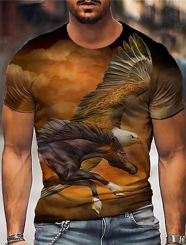Herr Unisex T-shirts T-shirt Skjorta 3D-tryck Grafiska tryck Örn Tryck Kortärmad Dagligen Blast Ledigt Designer Stor och hög Orange