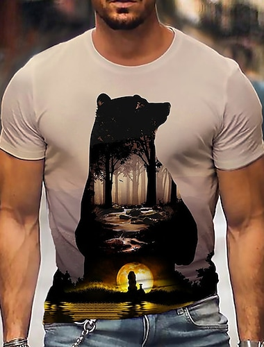 Per uomo Unisex Magliette maglietta Camicia Stampa 3D Stampe astratte Orso Con stampe Manica corta Quotidiano Top Casuale Originale Grande e alto Marrone