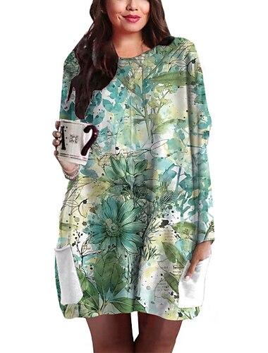 Γυναικεία Συν μέγεθος Φόρεμα Φόρεμα ριχτό Μίνι φόρεμα Μακρυμάνικο Φλοράλ Γραφική Τσέπη Στάμπα Βασικό Φθινόπωρο Καλοκαίρι Θαλασσί Πράσινο XL XXL 3XL 4XL 5XL / Μεγάλα Μεγέθη / Αργίες / Μεγάλα Μεγέθη
