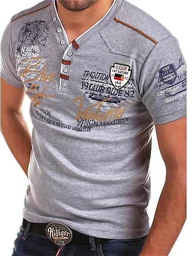 בגדי ריקוד גברים חולצה קצרה חולצה גראפי אותיות דפוס שרוולים קצרים יומי צמרות צווארון V אפור לבן שחור / קיץ