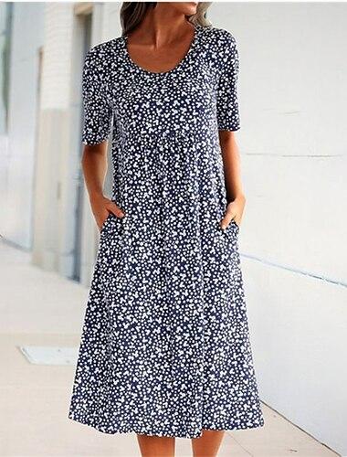Γυναικεία Φόρεμα σε γραμμή Α Μίντι φόρεμα Θαλασσί Κίτρινο Πορτοκαλί Μαύρο Κοντομάνικο Πουά Στάμπα Στάμπα Καλοκαίρι Στρογγυλή Λαιμόκοψη Καθημερινό 2021 Τ M L XL XXL 3XL