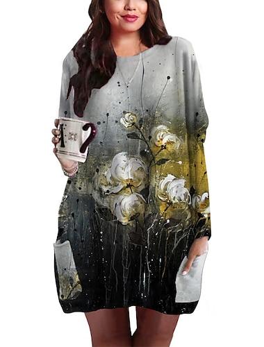 Γυναικεία Συν μέγεθος Φόρεμα Φόρεμα ριχτό Μίνι φόρεμα Μακρυμάνικο Φλοράλ Γραφική Τσέπη Στάμπα Βασικό Φθινόπωρο Καλοκαίρι Ανοικτό Κίτρινο Μαύρο XL XXL 3XL 4XL 5XL / Μεγάλα Μεγέθη / Αργίες