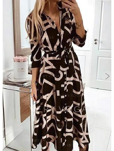 Women\'s Swing Dress Maxi long Dress Black 3/4 Length Sleeve Graphic Lace up Spring Summer Collar Elegant 2021 S M L XL XXL