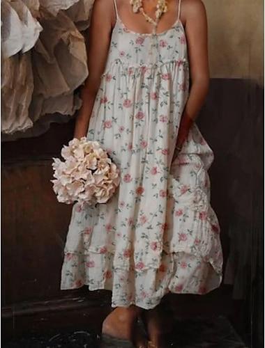 Γυναικεία Φόρεμα ριχτό από τη μέση και κάτω Μακρύ φόρεμα Λευκό Αμάνικο Λουλούδι Άνοιξη Καλοκαίρι Καθημερινό Ρομαντικό Φαρδιά 2021 Τ M L XL XXL XXXL