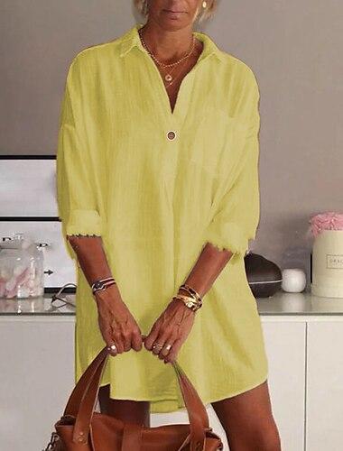 Γυναικεία Φόρεμα πουκαμίσα Μίνι φόρεμα Κίτρινο Ανθισμένο Ροζ Πράσινο του τριφυλλιού Λευκό Μαύρο Μακρυμάνικο Συμπαγές Χρώμα Καλοκαίρι Κολάρο Πουκαμίσου καυτό Καθημερινό Κινεζικό στυλ 2021 Τ M L XL XXL