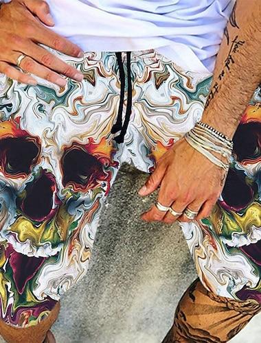 Męskie Hawajskie Chino Na zewnątrz Typu Chino Szorty Luźna Codzienny Plaża Spodnie Wzory graficzne Do kolan Elastyczny pas Nadruk Biały / Lato / Ściągacze