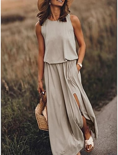 Women\'s Shift Dress Maxi long Dress Sleeveless Solid Color Pure Color Split Spring Summer Crew Neck Round Neck Elegant Casual Going out Work 2021 S M L XL 2XL 3XL 4XL 5XL