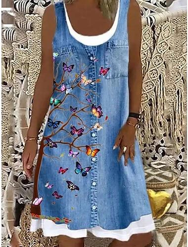 Mujer Vestido de una linea Vestido hasta la Rodilla Azul Piscina Sin Mangas Floral Mariposa Animal Estampado Primavera Verano Escote Barco Casual 2021 S M L XL XXL 3XL