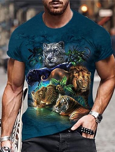 Tee T-shirt Chemise Homme Unisexe 3D effet Imprimes Photos Animal Imprime Manches Courtes Quotidien Vacances Standard Polyester Simple Designer Grand et grand Col Ras du Cou / Ete