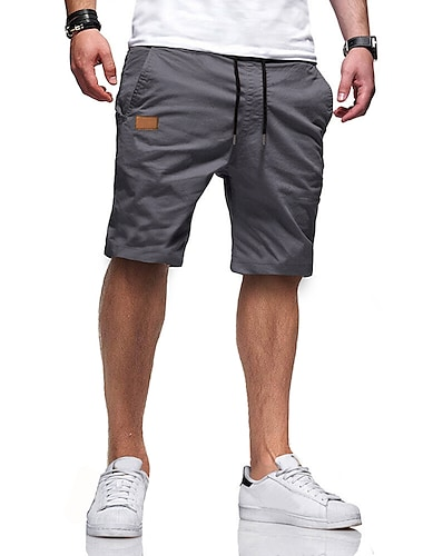 Homme Decontracte / Sport Short Ample Decontractee Pantalon Couleur Pleine Court Vert Veronese Kaki Gris Clair Noir Gris Fonce / Ete