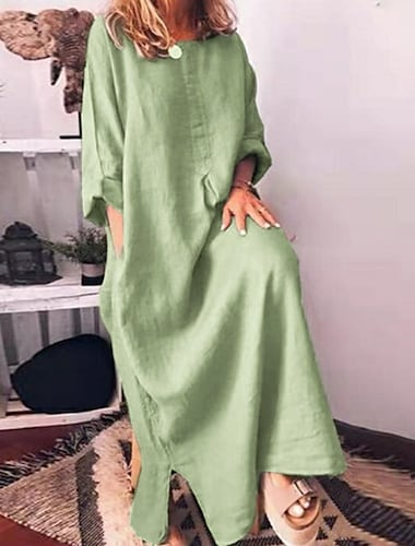 Γυναικεία Φόρεμα από βαμβακερό λινό Μακρύ φόρεμα Γκρίζο Πράσινο του τριφυλλιού Ρουμπίνι 3/4 Μήκος Μανικιού Συμπαγές Χρώμα Τσέπη Κουρελού Φθινόπωρο Άνοιξη Στρογγυλή Λαιμόκοψη Καθημερινό Φαρδιά 2021