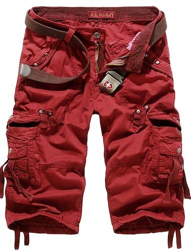 Homme basique Short Pantalon cargo du quotidien Pantalon Couleur Pleine Longueur genou Vin Vert Veronese Gris Kaki Gris Fonce