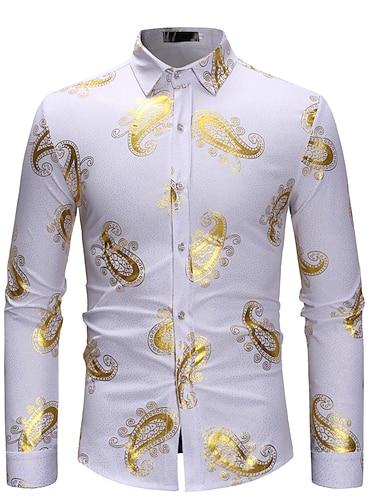 Муж. Рубашка Графика С принтом Длинный рукав выходные Верхушки Хлопок Легкие Удобный Винный Белый Черный