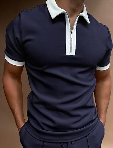 Per uomo Camicia da golf Golf Tinta unica Cerniera Manica corta Strada Top Casuale Di tendenza Traspirante Comodo Grigio Grigio chiaro Grigio scuro