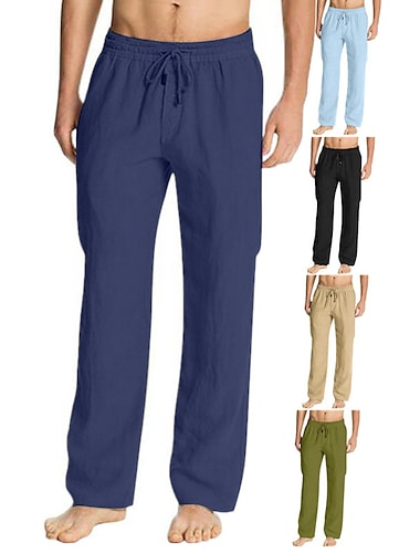 Bărbați Casual / Sport Chino Uscare rapidă Ușor Respirabil Sport Pantaloni chinez Bumbac Larg Casual Yoga Pantaloni Culoare solidă Lungime totală Cordon Buzunar Verde Militar Kaki Gri Deschis Alb