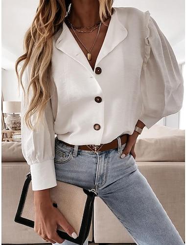 여성용 블라우스 셔츠 플레인 긴 소매 양상추 트림 단추 셔츠 카라 베이직 스트리트 쉬크 탑스 블러슁 핑크 카키 화이트