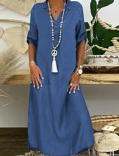 γυναικείο φόρεμα βάρκα maxi μακρύ φόρεμα σκούρο μπλε ανοιχτό μπλε μισό μανίκι μασίφ χρώμα πουκάμισο φθινόπωρο πουκάμισο κολάρο κομψό casual χαλαρό διακοπές 2021 s m l xl xxl 3xl 4xl 5xl