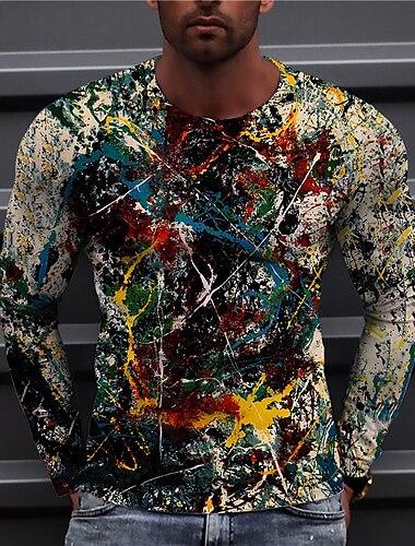 Муж. Универсальные Футболки Футболка Рубашка 3D печать Графические принты Граффити С принтом Длинный рукав Повседневные Верхушки На каждый день Оригинальный рисунок Большой и высокий Цвет радуги