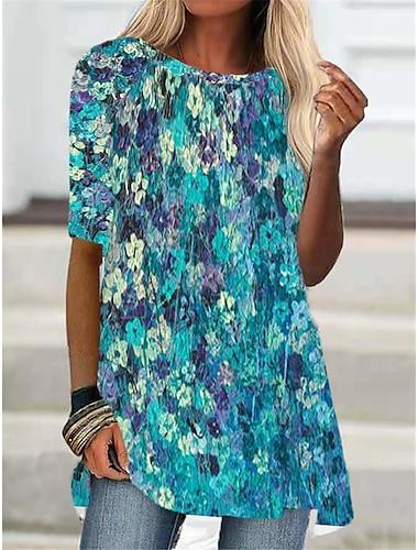 Dámské Tričkové šaty Krátké mini šaty Vodní modrá Šedá Poloviční rukáv Květinový Zářící barvy Tisk Podzim Léto Kulatý Na běžné nošení 2021 S M L XL XXL 3XL