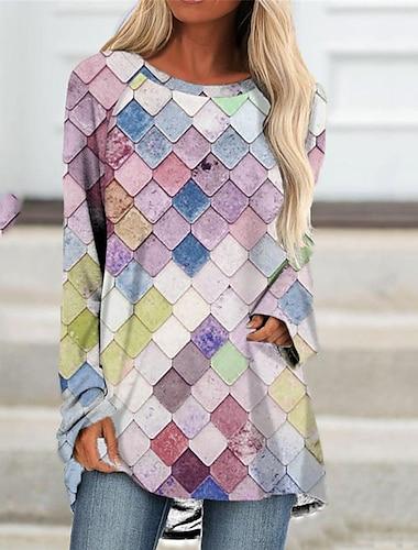 Dámské Úpletové šaty Krátké mini šaty Vodní modrá Světlá růžová Dlouhý rukáv Barevné bloky Geometrický Tisk Podzim Léto Kulatý Na běžné nošení Dovolená Běžný 2021 S M L XL XXL 3XL
