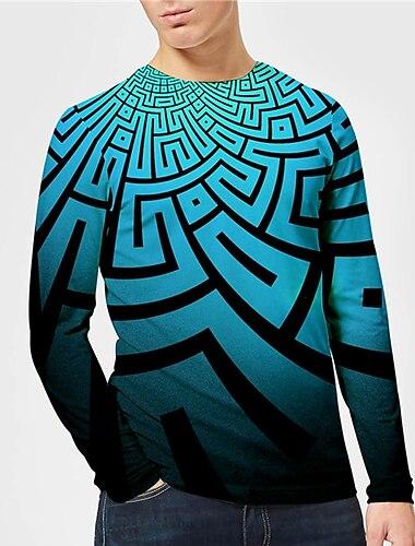 בגדי ריקוד גברים יוניסקס טי שירטס חולצה קצרה חולצה הדפסת תלת מימד הדפסים גרפיים גֵאוֹמֶטרִיָה דפוס שרוול ארוך יומי צמרות יום יומי מעצב גדול וגבוה פול
