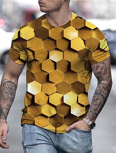 Ανδρικά Γιούνισεξ Κοντομάνικα Μπλουζάκι Πουκάμισο 3D εκτύπωση Γεωμετρικό Γραφικά Σχέδια Στάμπα Κοντομάνικο Καθημερινά Άριστος Καθημερινό Υψηλής Ποιότητας Μεγάλο και ψηλό Χρυσό