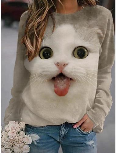 여성용 맨투맨 스웻티셔츠 풀오버 고양이 3D 동물 3D 프린트 일상 스포츠 3D 인쇄 활동적 스트리트 쉬크 후드 스웨트 셔츠 라이트 그레이 화이트 브라운