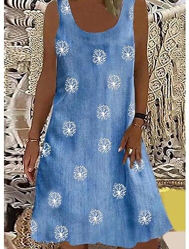 Kadın\'s Haljina s remenom Kısa elbise Açık Mavi Gri Kolsuz Tek Renk Saf Renk Çiçek Bahar Yaz Yuvarlak Yaka Günlük 2021 S M L XL XXL