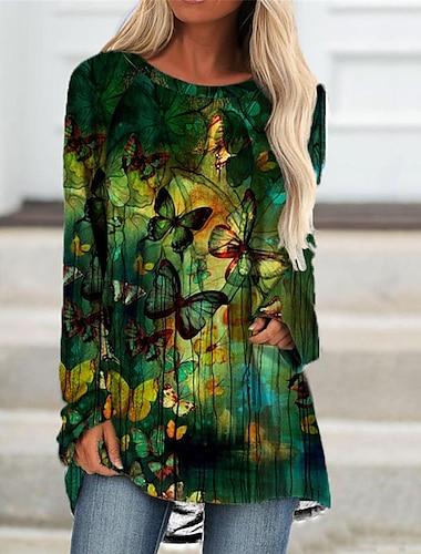 Dámské Úpletové šaty Krátké mini šaty Trávová zelená Rubínově červená Dlouhý rukáv Motýl Zvíře Tisk Podzim Léto Kulatý Na běžné nošení Dovolená Běžný 2021 S M L XL XXL 3XL