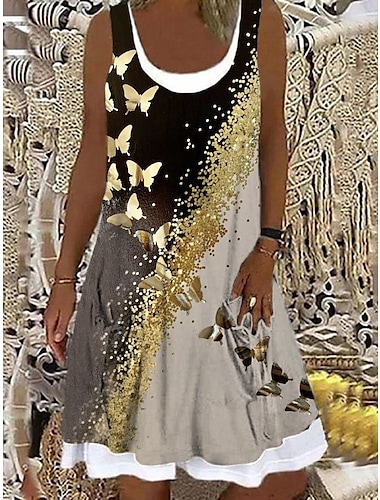 Mujer Vestido de una linea Vestido hasta la Rodilla Negro Sin Mangas Mariposa Animal Estampado Primavera Verano Escote Barco Casual Festivos 2021 S M L XL XXL 3XL