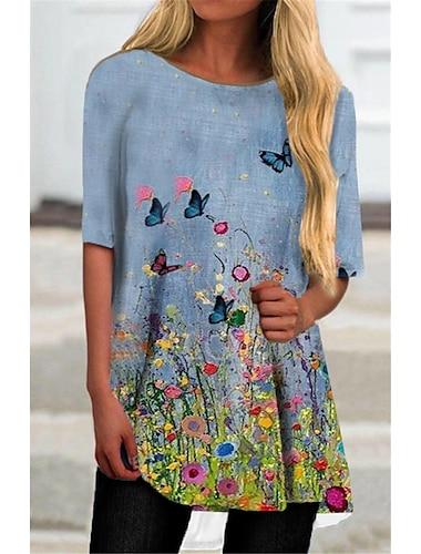 Dámské Tričkové šaty Krátké mini šaty Vodní modrá Poloviční rukáv Květinový Motýl Tisk Podzim Léto Kulatý Na běžné nošení Dovolená 2021 S M L XL XXL 3XL