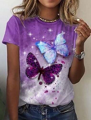 Női Absztrakt Pillangó Festmény Póló Színátmenet Pillangó Állat Nyomtatott Kerek Alap Szüret Felsők Normál Medence Bíbor Arcpír rózsaszín / 3D nyomtatás