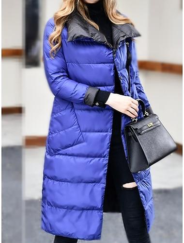 Γυναικεία Μπουφάν Puffer Αιτιώδης συνάφεια Καθημερινά Φθινόπωρο Χειμώνας Μάξι Παλτό Κανονικό Διατηρείτε Ζεστό Βασικό Καθημερινό Σακάκια Μακρυμάνικο Συμπαγές Χρώμα Τσέπη Μπλε Απαλό Χρυσαφί Ζαφειρένιο