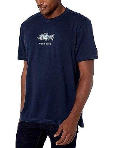 Per uomo Unisex Magliette maglietta Stampa a caldo Stampe astratte Prodotti per pesci Animali Taglie forti Con stampe Manica corta Casuale Top 100% cotone Essenziale Originale Grande e alto Blu marino