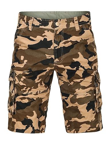 Homme basique Short Pantalon cargo Ample du quotidien Pantalon Camouflage Longueur genou Vert Veronese Kaki / Ete