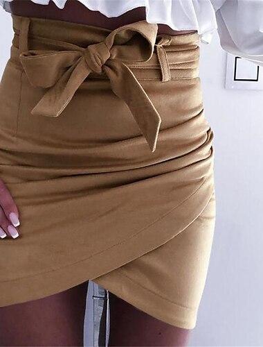 Dámské Dovolená Běžné / Denní Základní Šik ven Bodycon Krátký Sukně Jednobarevné Nabírané šaty Světlá růžová Khaki Bílá / Štíhlý