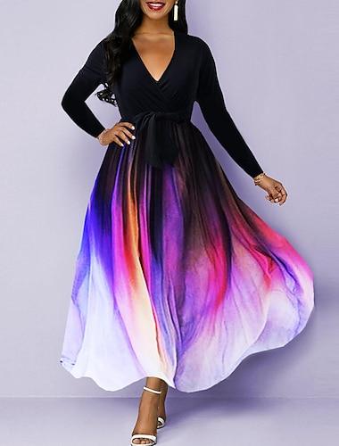 Women\'s Swing Dress Maxi long Dress Black Long Sleeve Color Gradient Fall Winter Elegant Slim 2021 S M L XL XXL