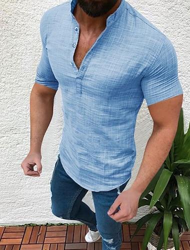 Homens Camisa Social nao imprimivel Cor Solida camisas de colarinho Manga Curta Casual Blusas Estilo Etnico Casual Tematica Asiatica Azul Cinzento Branco