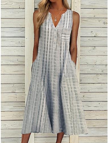 Women\'s Swing Dress Midi Dress Gray Sleeveless Plaid / Check Spring Summer Casual 2021 S M L XL